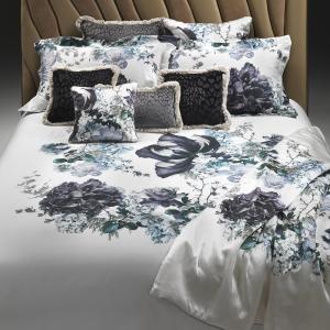 Roberto Cavalli set lenzuola matrimoniale in raso di cotone FLORIS blue