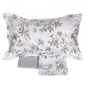 FAZZINI set lenzuola Maxi matrimoniale 2 piazze in raso NINFEE floreale grigio