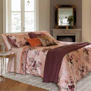 FAZZINI set lenzuola Maxi matrimoniale 2 piazze in raso DECOUPAGE rosa