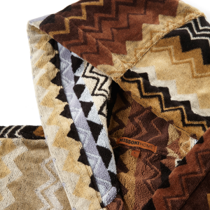 Missoni Giacomo bathrobe with hood MH 160 Brown zig zag