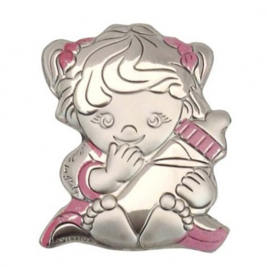 Blasone placca bimba con biberon in argento cm.3x3,8x0,3h