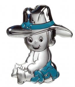 Blasone placca bimbo cowboy in argento cm.3x3,8x0,3h