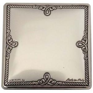 Blasone placca quadrato lavorato in argento cm.4,6x4,6x0,3h