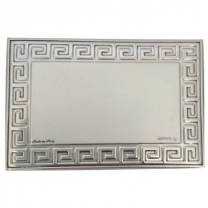 Blasone placca rettangolare greche in argento cm.6x4x0,3h