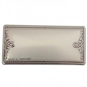 Blasone placca rettangolare lavorato in argento cm.7,1x3,3x0,3h