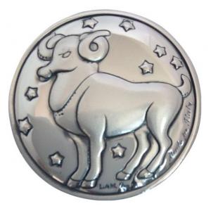 Blasone placca zodiaco ariete in argento cm.0,3h diam.3