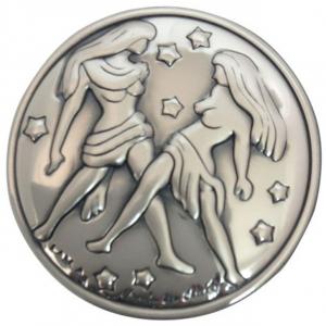 Blasone placca zodiaco gemelli in argento cm.0,3h diam.3