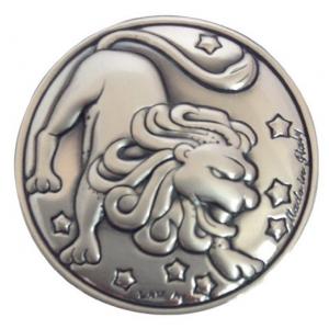 Blasone placca zodiaco Leone in argento cm.0,3h diam.3