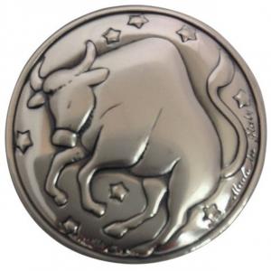 Blasone placca zodiaco toro in argento cm.0,3h diam.3