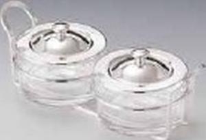 Porta marmellata 2 settori con cristalli placcato argento cm.23x10