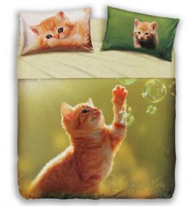 Set lenzuola letto piazza e mezza puro cotone BASSETTI Play Cat
