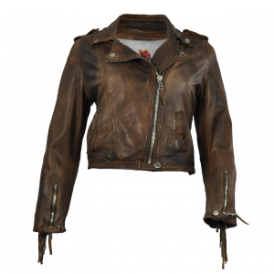 Giacca di pelle Brown con frange - THE JACKIE LEATHERS