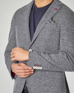 Giacca blu melange in cotone e lino