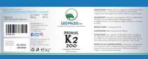 Primal K2 1000 - Vitamina K2/MK7 200 mcg - No Soya, No Glutine, No Lattosio