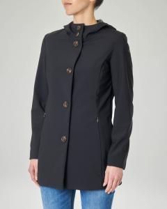 Cappotto sfiancato nero tessuto tecnico con cappuccio