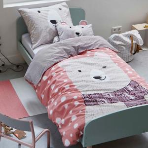 Set copripiumino singolo 1 piazza puro cotone Covers&CO Snow orsetto rosa