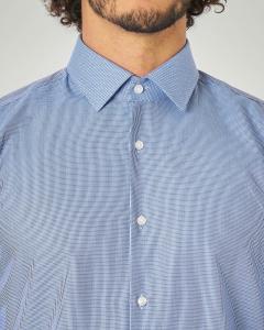 Camicia indaco a micro disegno