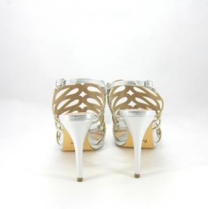 Sandalo cerimonia donna argento con cristalli.
