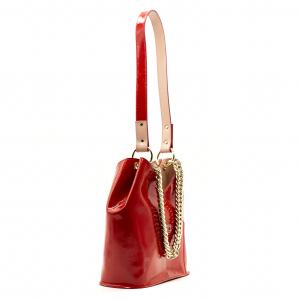 Borsa a secchiello fusion Olivia Pope in pelle verniciata rossa