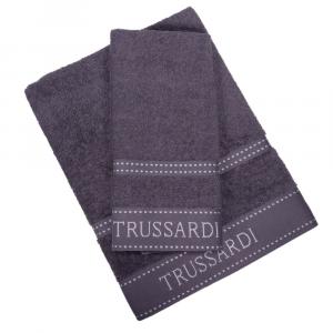 Trussardi set 1+1 asciugamano e ospite in spugna RIBBON grigio