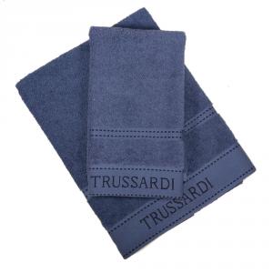 Trussardi set 1+1 asciugamano e ospite in spugna RIBBON blu