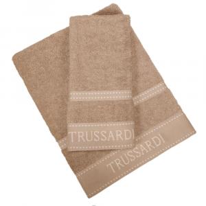 Trussardi set 1+1 asciugamano e ospite in spugna RIBBON tortora