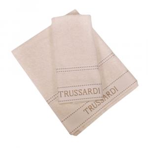 Trussardi set 1+1 asciugamano e ospite in spugna RIBBON avorio