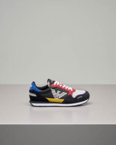 Sneakers multicolor in pelle scamosciata