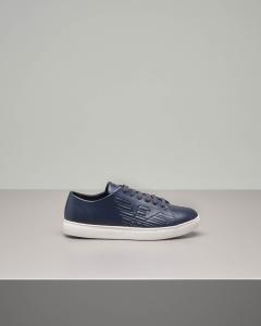 Sneakers blu in pelle