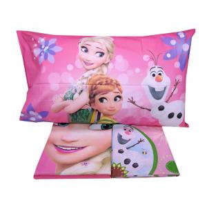 Completo lenzuola letto singolo Disney FROZEN con sotto e federa fuxia