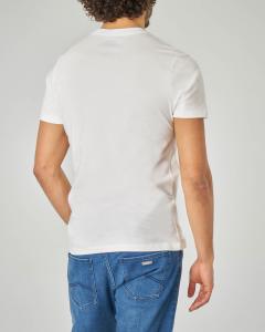 T-shirt bianca con logo multicolor