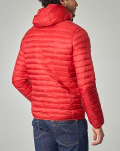 Piumino rosso con cappuccio