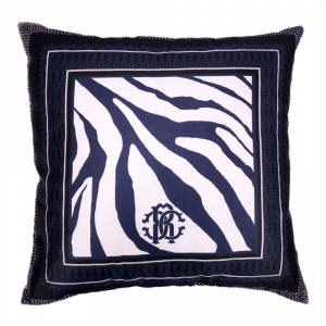 Cuscino decorativo ROBERTO CAVALLI 40x40 cm in raso FRAME ZEBRAGE blu