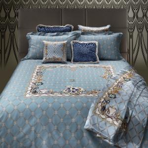 Roberto Cavalli set lenzuola matrimoniale in raso di cotone NEW SPIDER azzurro