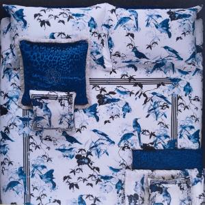 Roberto Cavalli set lenzuola matrimoniale in raso di cotone BIRD RAMAGE blu