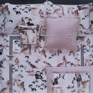Roberto Cavalli set lenzuola matrimoniale in raso di cotone BIRD RAMAGE rosa