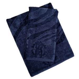 Roberto Cavalli set 1+1 asciugamano e ospite ZEBRAGE spugna di cotone - blu