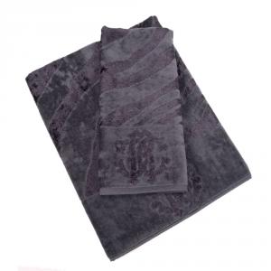 Roberto Cavalli set 1+1 asciugamano e ospite ZEBRAGE spugna di cotone - charcoal
