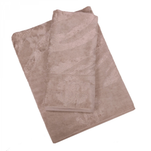 Roberto Cavalli set 1+1 asciugamano e ospite ZEBRAGE spugna di cotone - sabbia
