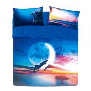 Set lenzuola piazza e mezza puro cotone BASSETTI Jump Dolphin effetto copriletto