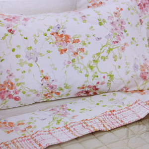 Set lenzuola matrimoniale 2 piazze EDEN rosa floreale puro cotone
