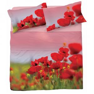 Completo lenzuola matrimoniale 2 piazze PAPAVERI puro cotone stampa digitale