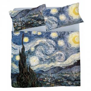 Completo lenzuola matrimoniale 2 piazze puro cotone LA NOTTE STELLATA Van Gogh