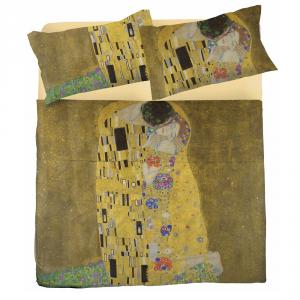 Completo lenzuola matrimoniale 2 piazze puro cotone IL BACIO Klimt