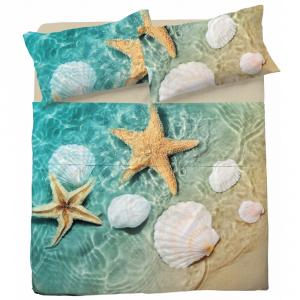 Completo lenzuola matrimoniale 2 piazze STARFISH puro cotone stampa digitale