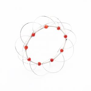 Bracciale multi cerchio, mobile, in Argento 925/°°° con Corallo naturale