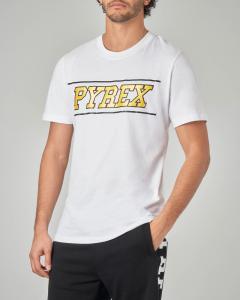 T-shirt bianca con logo giallo