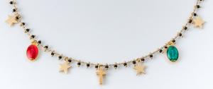 Collana girocollo in ottone galvanizzato madonnine miracolose , croce  e stelle