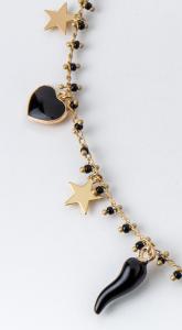 Collana girocollo in ottone galvanizzato cuori , cornetti e stelle