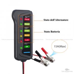Tester Per Batteria Auto Da12 V Con Display 6 Luci Led E Alternatore Digitale, Dispositivo Multi Funzione Con Morsetti Per Auto E Moto Verifica Stato Alternatore E Stato Batteria